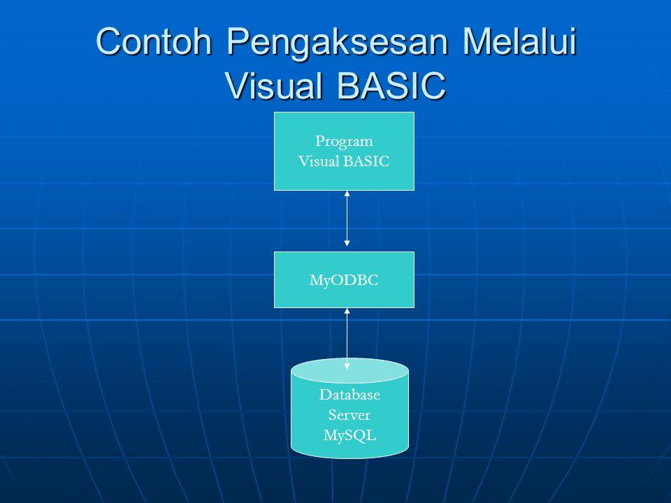 Contoh Pengaksesan Melalui Visual BASIC Program Visual BASIC Database Server MySQL MyODBC