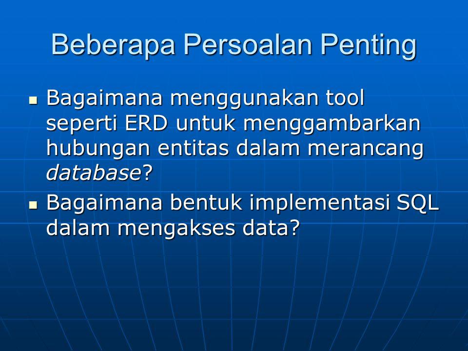 Beberapa Persoalan Penting Bagaimana menggunakan tool seperti ERD untuk menggambarkan hubungan entitas dalam merancang database? Bagaimana menggunakan