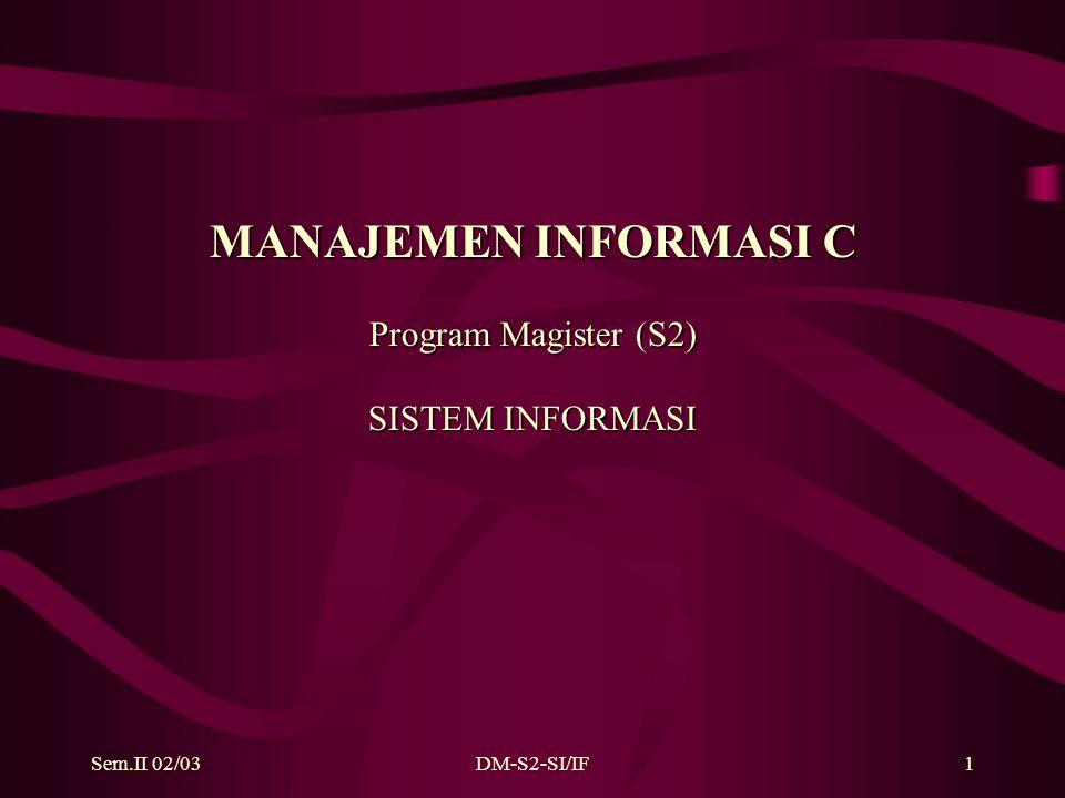 Sem.II 02/03DM-S2-SI/IF2 LINGKUP MATERI KULIAH : Memahami TEKNOLOGI (TOOLS dan METODOLOGI) dalam hal : 1.Capturing the data : Data Modelling (FILE, DATABASE) 2.Pengelolaan data dalam komputer : Struktur penyimpanan data (FILE) Struktur penyimpanan data (Database) Security dan Integrity Constraint (Multi-Users) Recovery Administrasi database 3.Eksplorasi new data  Teknologi Basis Data