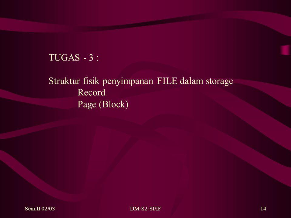Sem.II 02/03DM-S2-SI/IF14 TUGAS - 3 : Struktur fisik penyimpanan FILE dalam storage Record Page (Block)