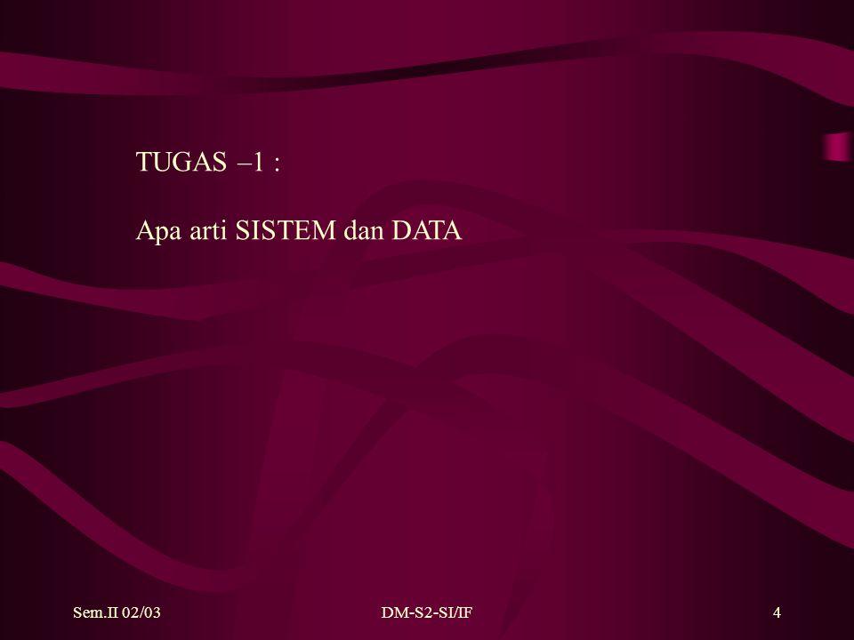 Sem.II 02/03DM-S2-SI/IF5 SUMBER DATA : Dari Luar Sistem (bahan mentah) Dalam Sistem (Self generation) PENGGUNA DATA : Luar Sistem (product) Dalam Sistem (product antara, kontrol)