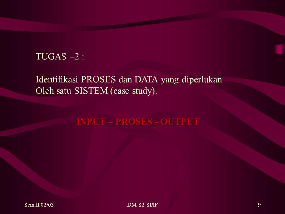 Sem.II 02/03DM-S2-SI/IF9 TUGAS –2 : Identifikasi PROSES dan DATA yang diperlukan Oleh satu SISTEM (case study).