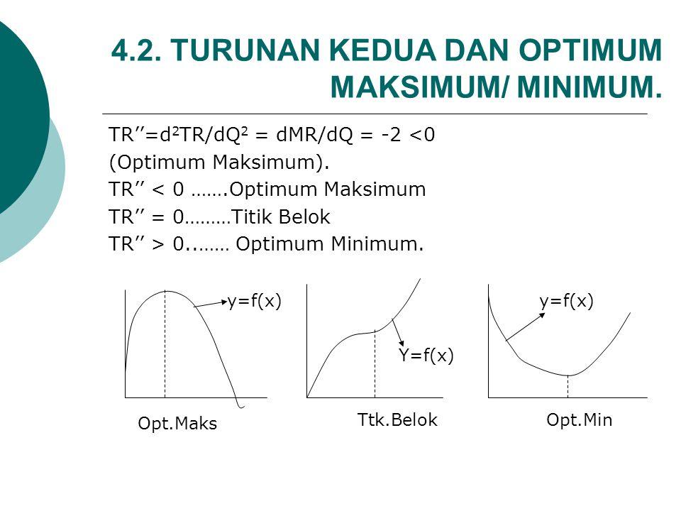 Penerimaan Marjinal (MR): MR = dTR/dQ…..MR=10-2P Jika P tergantung Q, maka fungsi permintaan turun miring dari kiri atas kekanan bawah, maka : P = AR