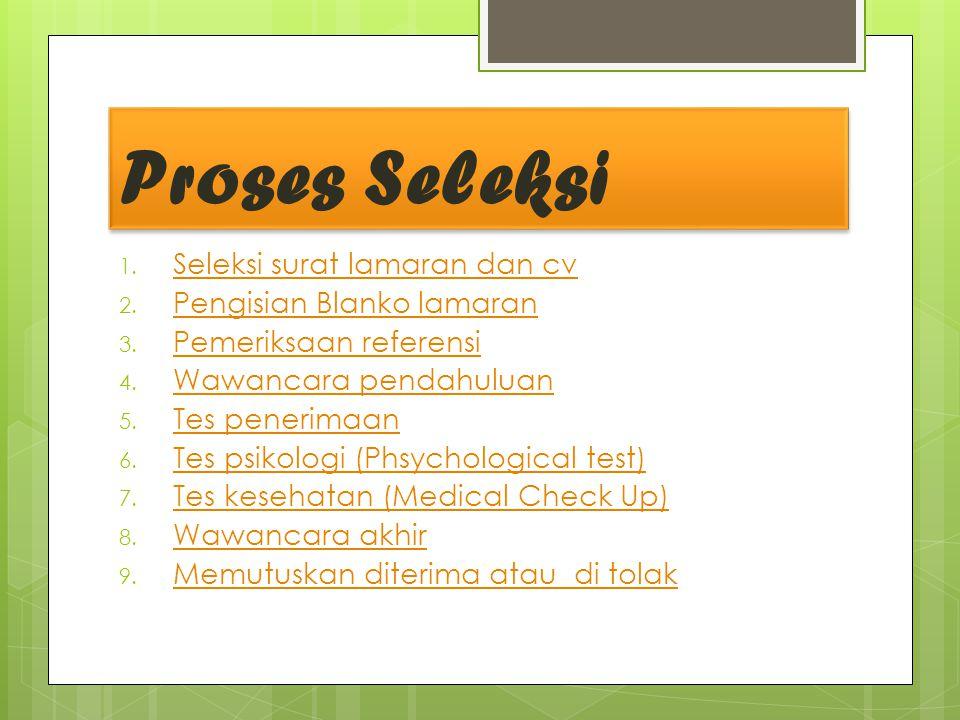 Proses Seleksi 1.Seleksi surat lamaran dan cv Seleksi surat lamaran dan cv 2.