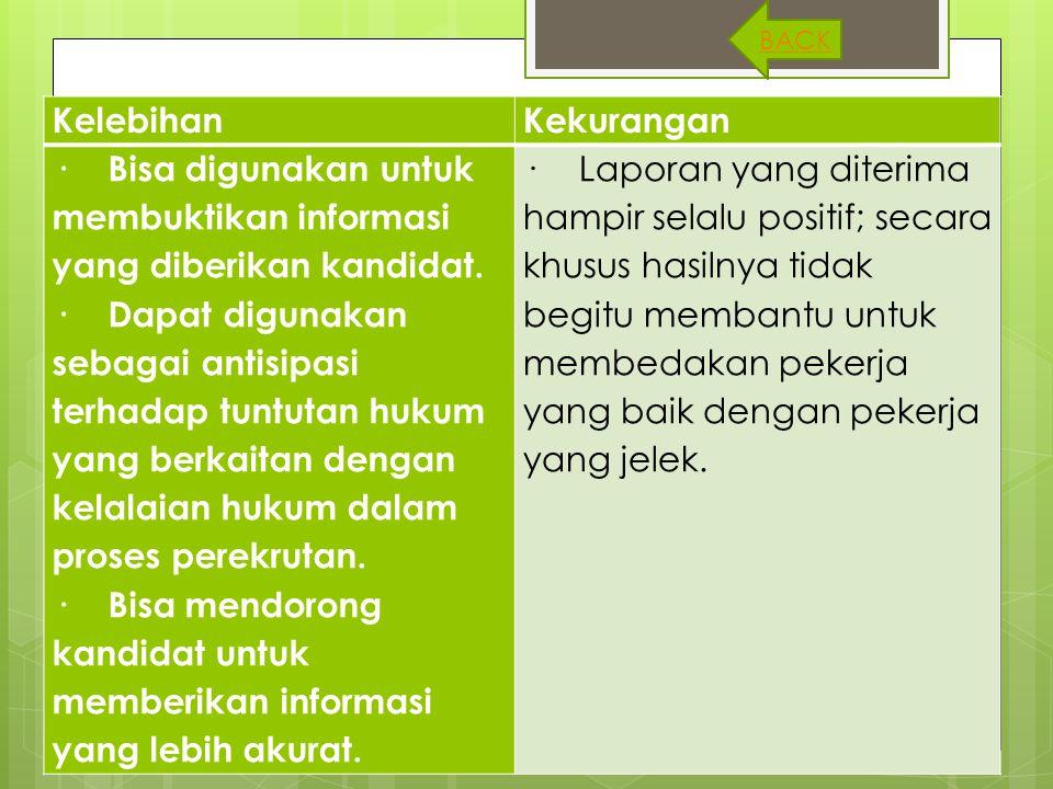 KelebihanKekurangan · Bisa digunakan untuk membuktikan informasi yang diberikan kandidat. · Dapat digunakan sebagai antisipasi terhadap tuntutan hukum
