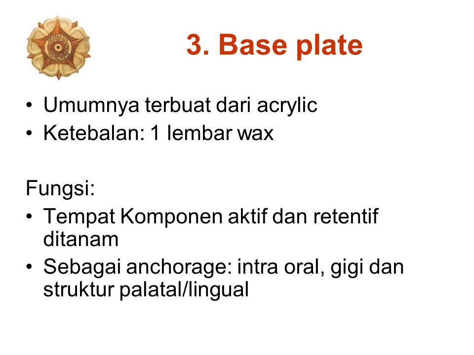 3. Base plate Umumnya terbuat dari acrylic Ketebalan: 1 lembar wax Fungsi: Tempat Komponen aktif dan retentif ditanam Sebagai anchorage: intra oral, g