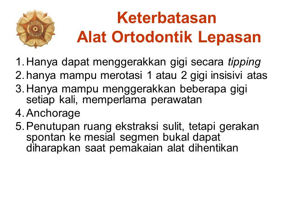 Keterbatasan Alat Ortodontik Lepasan 1.Hanya dapat menggerakkan gigi secara tipping 2.hanya mampu merotasi 1 atau 2 gigi insisivi atas 3.Hanya mampu m