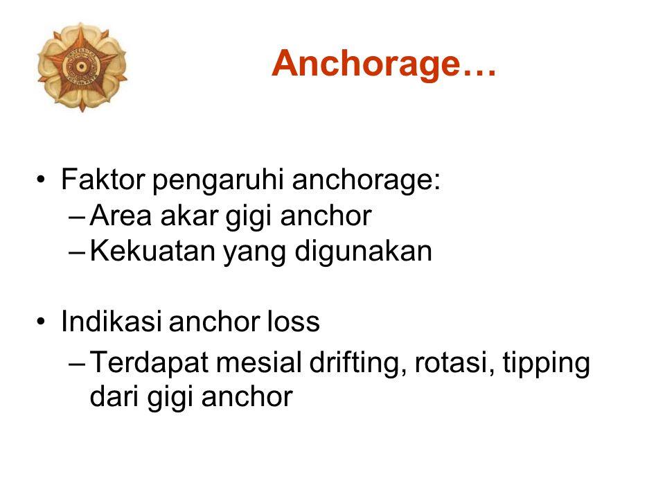 Anchorage… Faktor pengaruhi anchorage: –Area akar gigi anchor –Kekuatan yang digunakan Indikasi anchor loss –Terdapat mesial drifting, rotasi, tipping