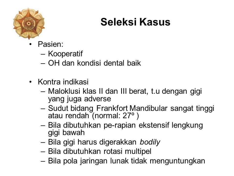 Seleksi Kasus Pasien: –Kooperatif –OH dan kondisi dental baik Kontra indikasi –Maloklusi klas II dan III berat, t.u dengan gigi yang juga adverse –Sud