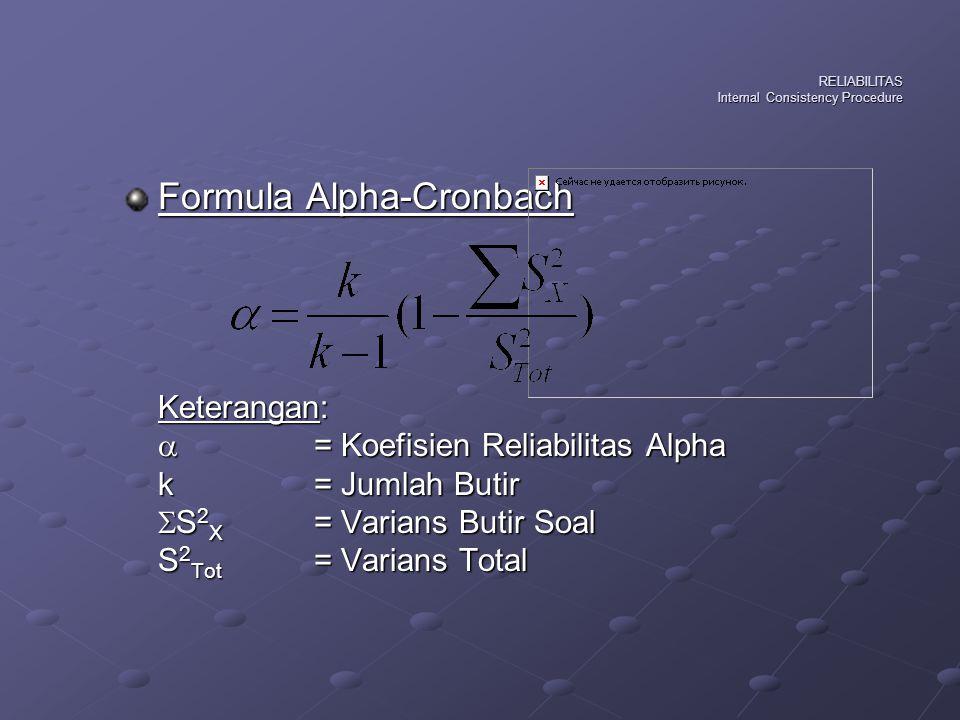 Formula Analisis Varians-Hoyt Keterangan: rXX'= Koefisien Reliabilitas Hoyt S2e= Varians Error (interaksi antara subjek dan butir soal) S2s= Varians Skor Subjek (antar subjek)