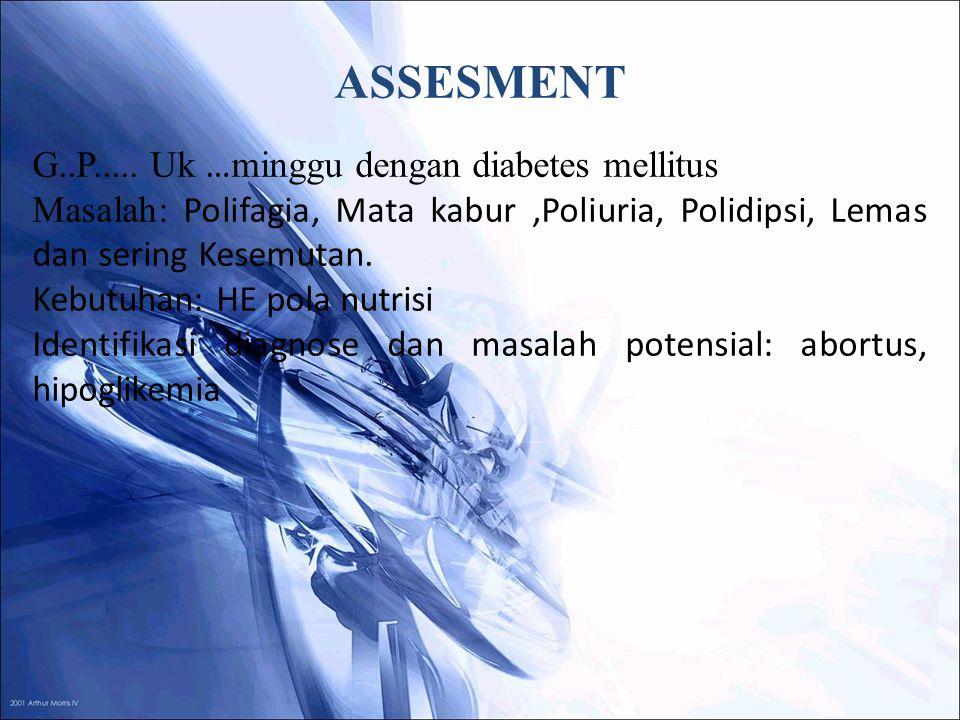 ASSESMENT G..P..... Uk … minggu dengan diabetes mellitus Masalah: Polifagia, Mata kabur,Poliuria, Polidipsi, Lemas dan sering Kesemutan. Kebutuhan: HE