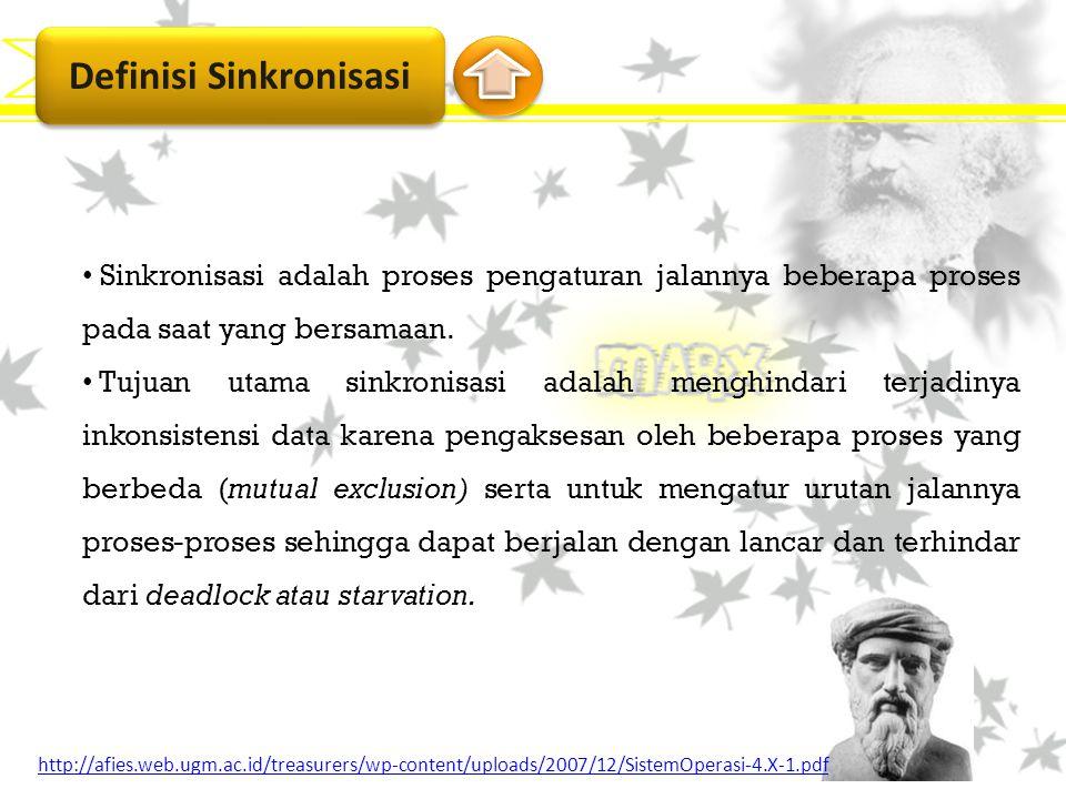 Definisi Sinkronisasi Sinkronisasi adalah proses pengaturan jalannya beberapa proses pada saat yang bersamaan. Tujuan utama sinkronisasi adalah menghi