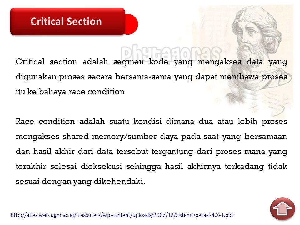 Mutual Exclusion Progress Bounded Waiting Mutual Exclusion Progress Bounded Waiting Solusi Critical Section 3 syarat Solusi Perangkat Lunak Solusi Perangkat Keras Solusi Perangkat Lunak Solusi Perangkat Keras Solusi http://afies.web.ugm.ac.id/treasurers/wp-content/uploads/2007/12/SistemOperasi-4.X-1.pdf http://lecturer.eepis-its.edu/~arna/Diktat_SO/5.Sinkronisasi%20Proses.pdf