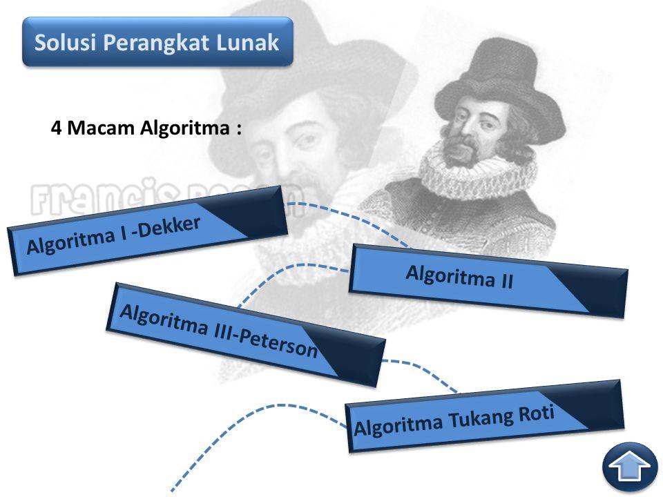 Solusi Perangkat Lunak Algoritma I -Dekker Algoritma II Algoritma III-Peterson Algoritma Tukang Roti 4 Macam Algoritma :