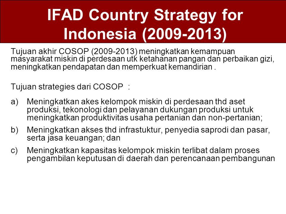 IFAD Country Strategy for Indonesia (2009-2013) Tujuan akhir COSOP (2009-2013) meningkatkan kemampuan masyarakat miskin di perdesaan utk ketahanan pan