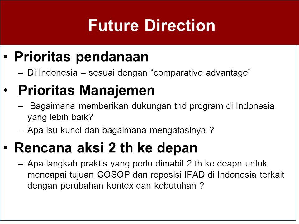 """Future Direction Prioritas pendanaan –Di Indonesia – sesuai dengan """"comparative advantage"""" Prioritas Manajemen – Bagaimana memberikan dukungan thd pro"""