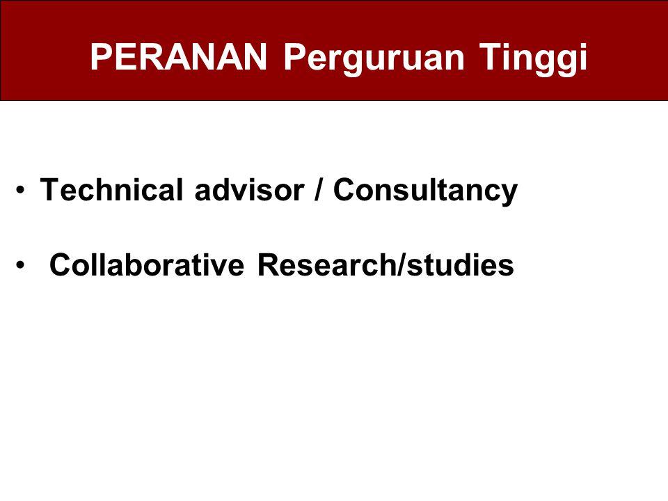 PERANAN Perguruan Tinggi Technical advisor / Consultancy Collaborative Research/studies