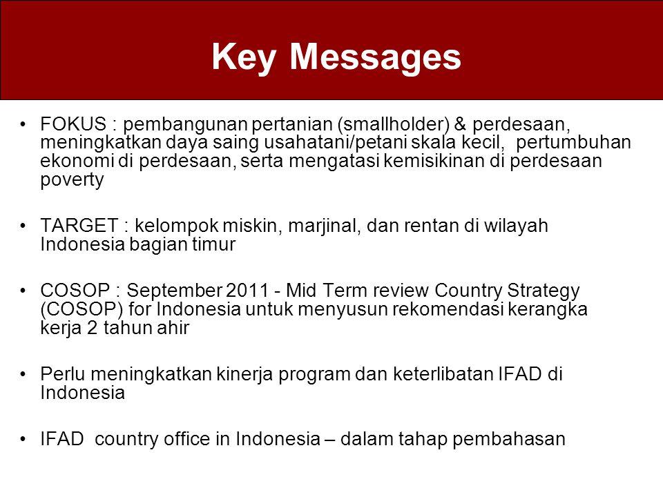 Key Messages FOKUS : pembangunan pertanian (smallholder) & perdesaan, meningkatkan daya saing usahatani/petani skala kecil, pertumbuhan ekonomi di per