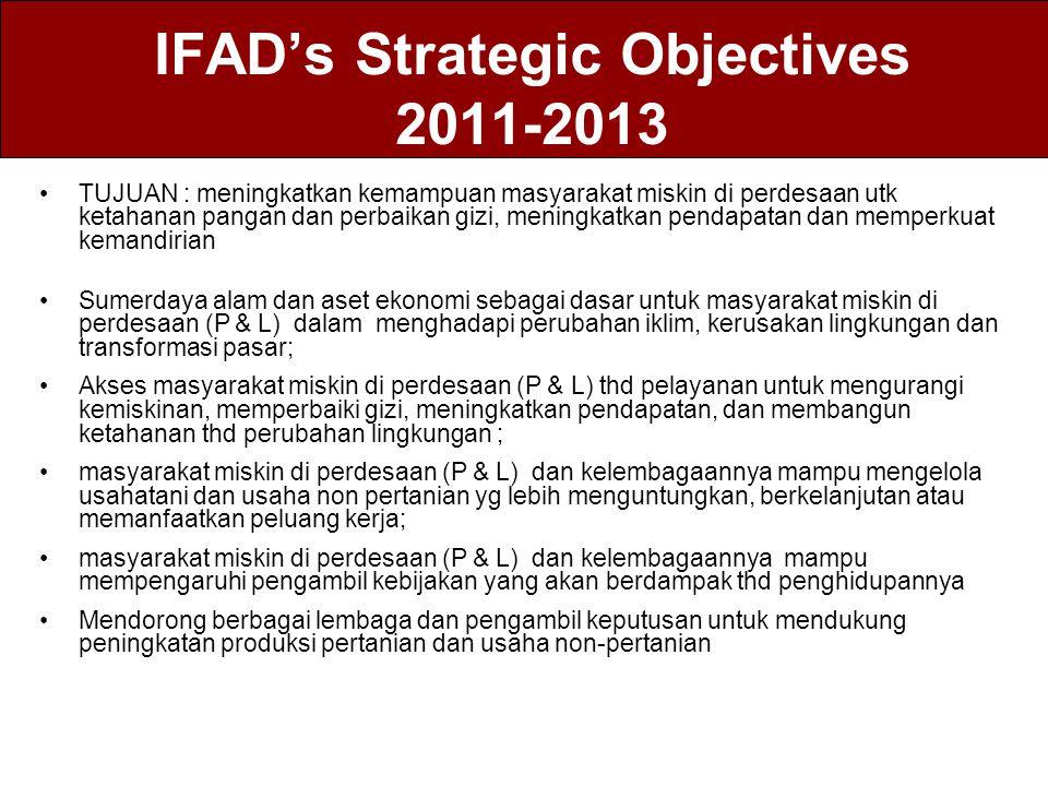 IFAD's Strategic Objectives 2011-2013 TUJUAN : meningkatkan kemampuan masyarakat miskin di perdesaan utk ketahanan pangan dan perbaikan gizi, meningka