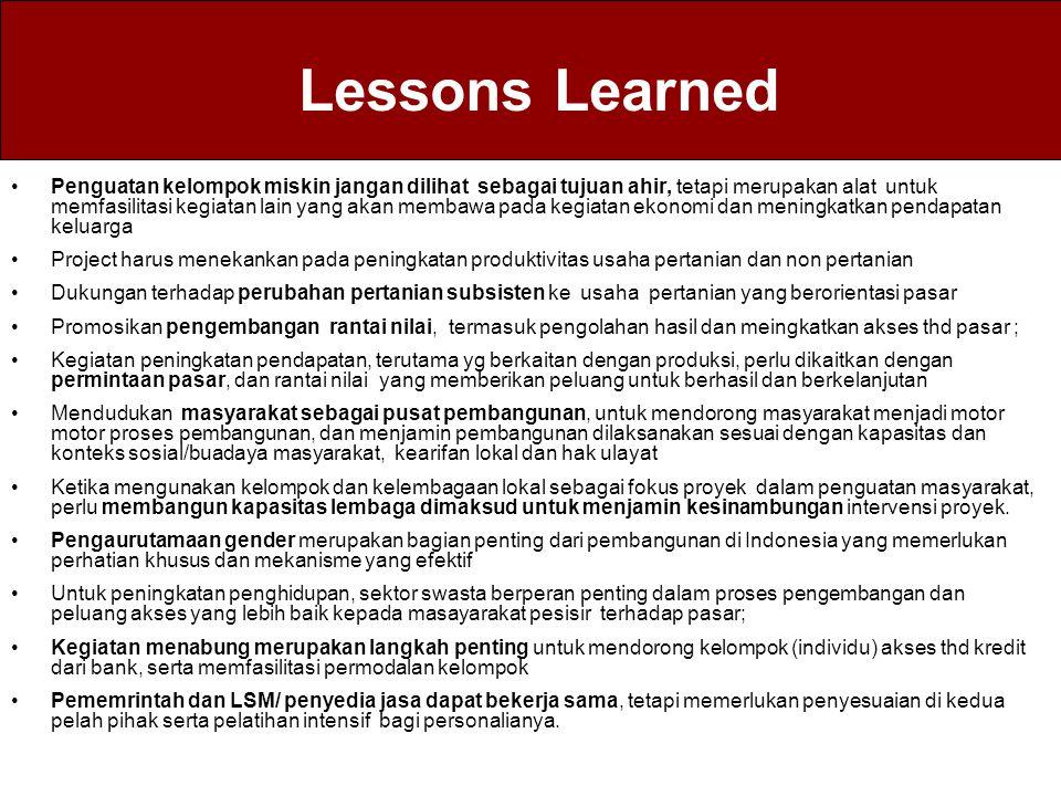 Lessons Learned Penguatan kelompok miskin jangan dilihat sebagai tujuan ahir, tetapi merupakan alat untuk memfasilitasi kegiatan lain yang akan membaw