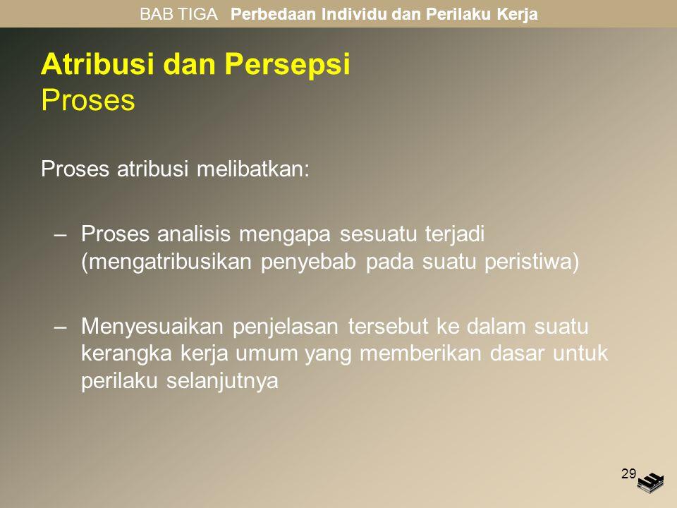 29 Atribusi dan Persepsi Proses Proses atribusi melibatkan: –Proses analisis mengapa sesuatu terjadi (mengatribusikan penyebab pada suatu peristiwa) –