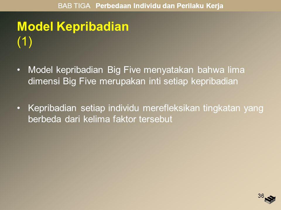 36 Model Kepribadian (1) Model kepribadian Big Five menyatakan bahwa lima dimensi Big Five merupakan inti setiap kepribadian Kepribadian setiap indivi