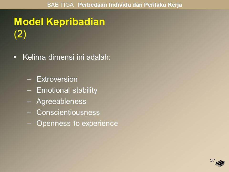 37 Model Kepribadian (2) Kelima dimensi ini adalah: –Extroversion –Emotional stability –Agreeableness –Conscientiousness –Openness to experience BAB TIGA Perbedaan Individu dan Perilaku Kerja