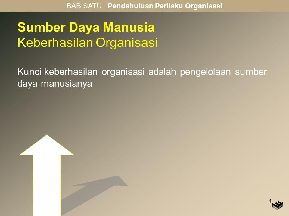 4 Sumber Daya Manusia Keberhasilan Organisasi Kunci keberhasilan organisasi adalah pengelolaan sumber daya manusianya BAB SATU Pendahuluan Perilaku Organisasi