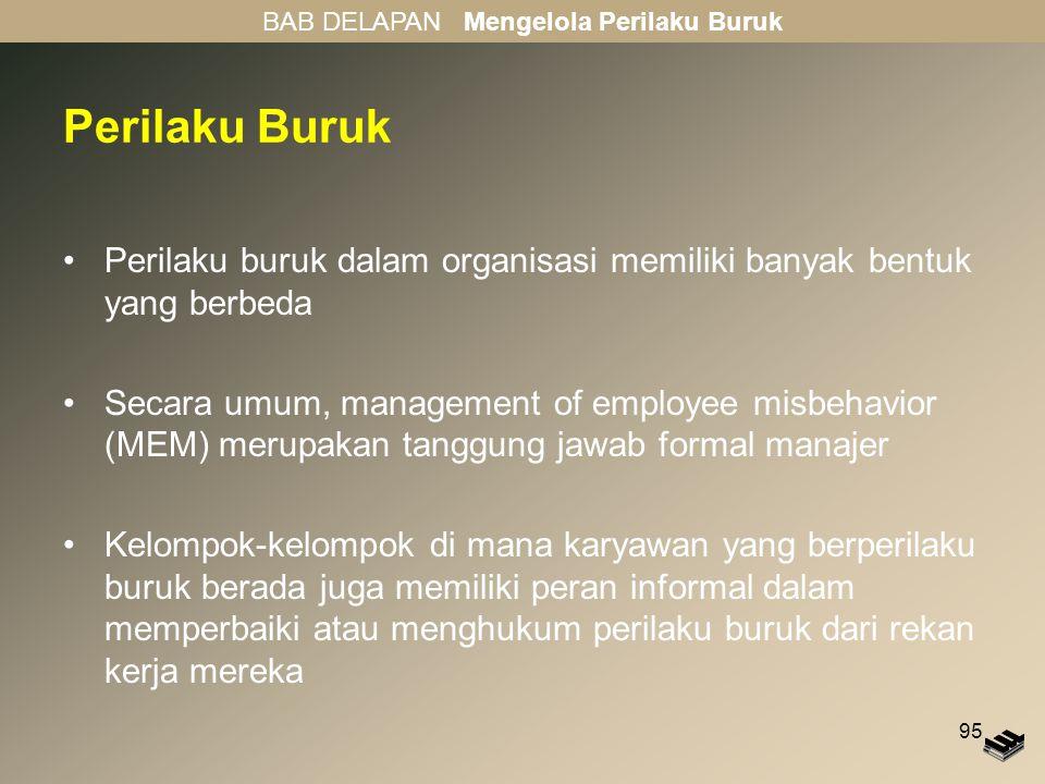 95 Perilaku Buruk Perilaku buruk dalam organisasi memiliki banyak bentuk yang berbeda Secara umum, management of employee misbehavior (MEM) merupakan