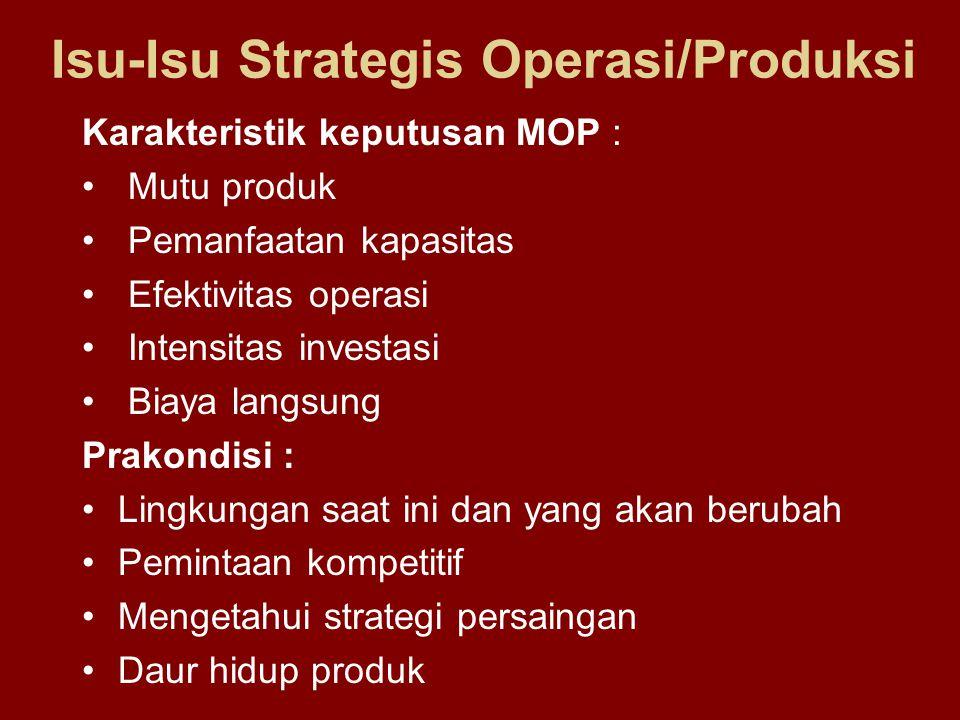 Karakteristik keputusan MOP : Mutu produk Pemanfaatan kapasitas Efektivitas operasi Intensitas investasi Biaya langsung Prakondisi : Lingkungan saat i