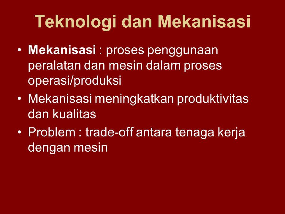 Teknologi dan Mekanisasi Mekanisasi : proses penggunaan peralatan dan mesin dalam proses operasi/produksi Mekanisasi meningkatkan produktivitas dan ku