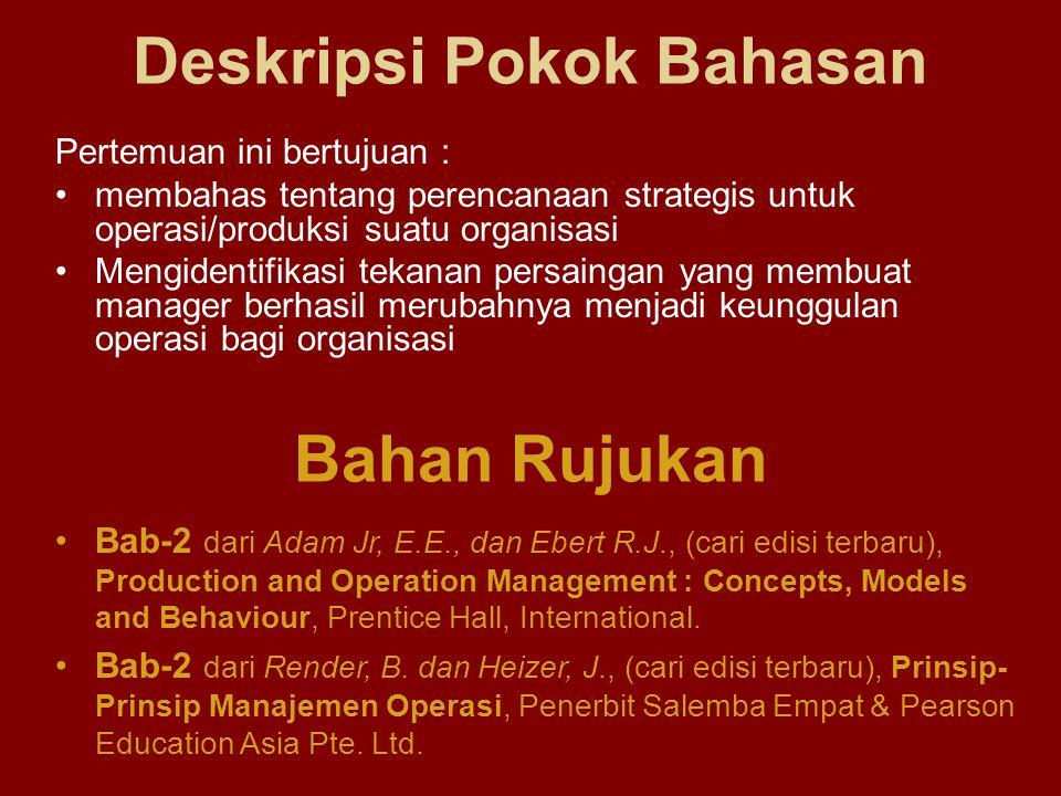 Perencanaan Strategis –Perencanaan Strategis untuk Operasi/Produksi –Mengidentifikasikan Misi dan Strategi Keputusan Manajemen Operasi/Produksi Isu-Isu Strategis Operasi/Produksi Produktivitas dan Kualitas –Tingkat Produktivitas –Trend Produktivitas –Kualitas dan Produktivitas Teknologi dan Mekanisasi Manajemen Operasi Internasional Memenuhi Tantangan Persaingan Ringkasan Pokok Bahasan