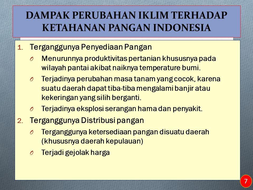 DAMPAK PERUBAHAN IKLIM TERHADAP KETAHANAN PANGAN INDONESIA 1. Terganggunya Penyediaan Pangan O Menurunnya produktivitas pertanian khususnya pada wilay