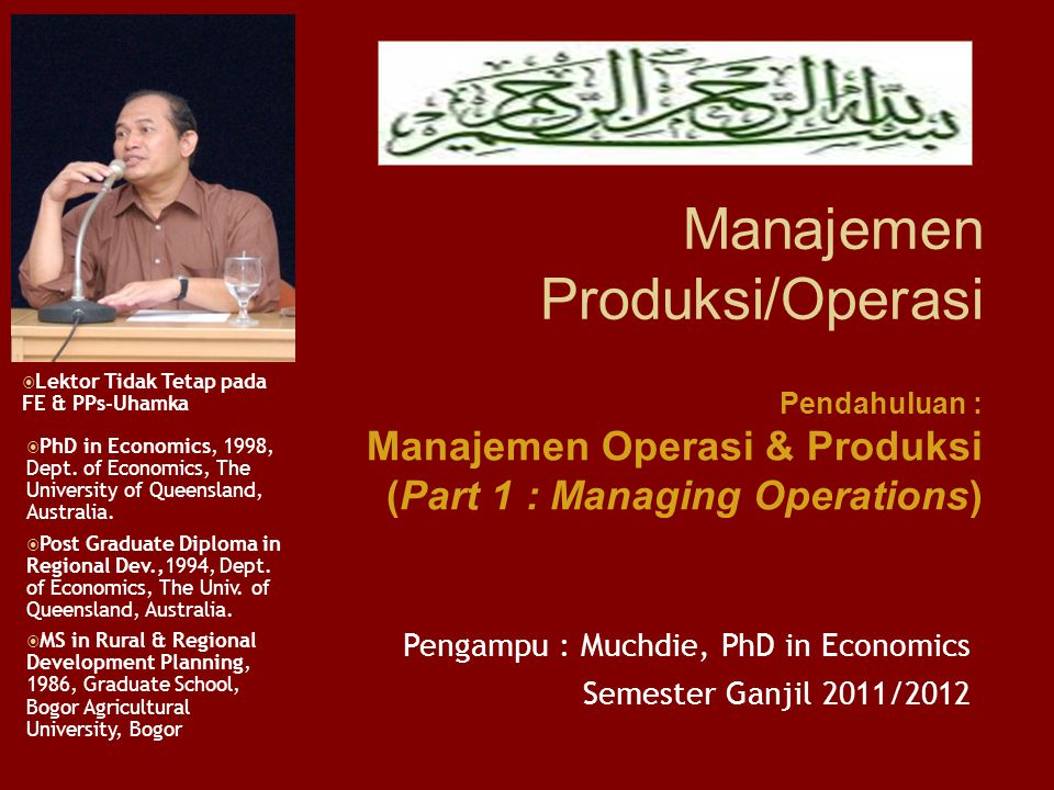 Organising Organising for conversion Job Design, Work Measurement Project Management Controlling Material Control Inventory Control Material Require Planning Managing for world-class competition Japanese manufacturing Managing for quality Planning Planning Conversion System Operations Strategis Product and Process Choices Opration Capacity Facility Location Layout Planning Schedulling Schedulling System Operation Schedulling Model Umum Manajemen Operasi Proses Konversi INPUTs OUTPUTs Random Fluctuations