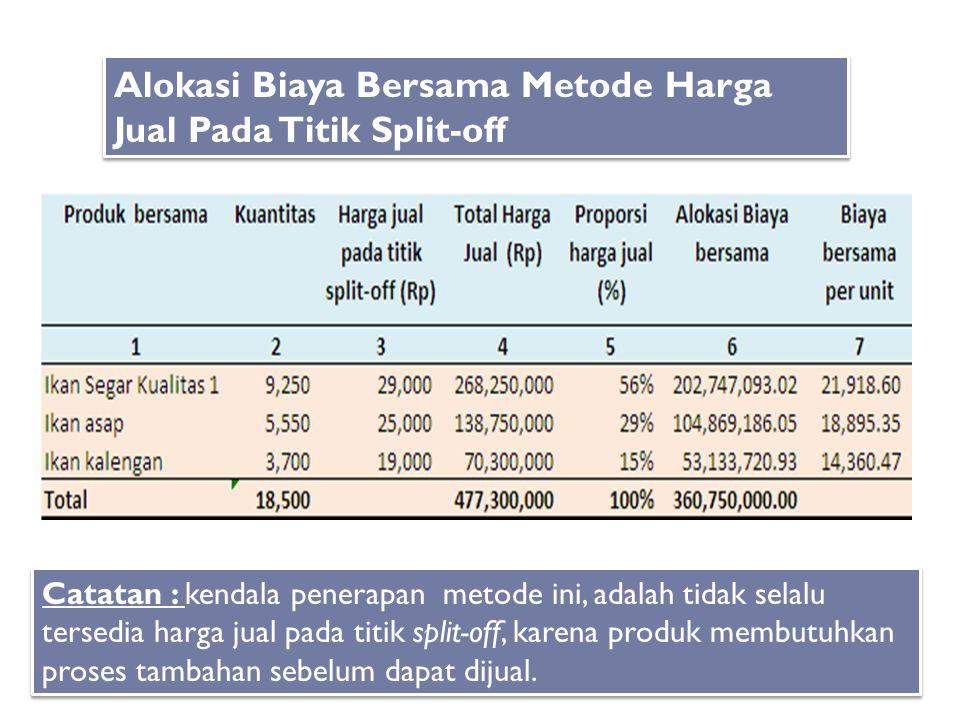 Alokasi Biaya Bersama Metode Harga Jual Pada Titik Split-off Catatan : kendala penerapan metode ini, adalah tidak selalu tersedia harga jual pada titi