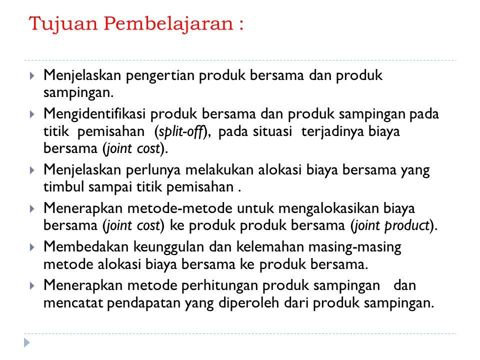 Tujuan Pembelajaran :  Menjelaskan pengertian produk bersama dan produk sampingan.  Mengidentifikasi produk bersama dan produk sampingan pada titik