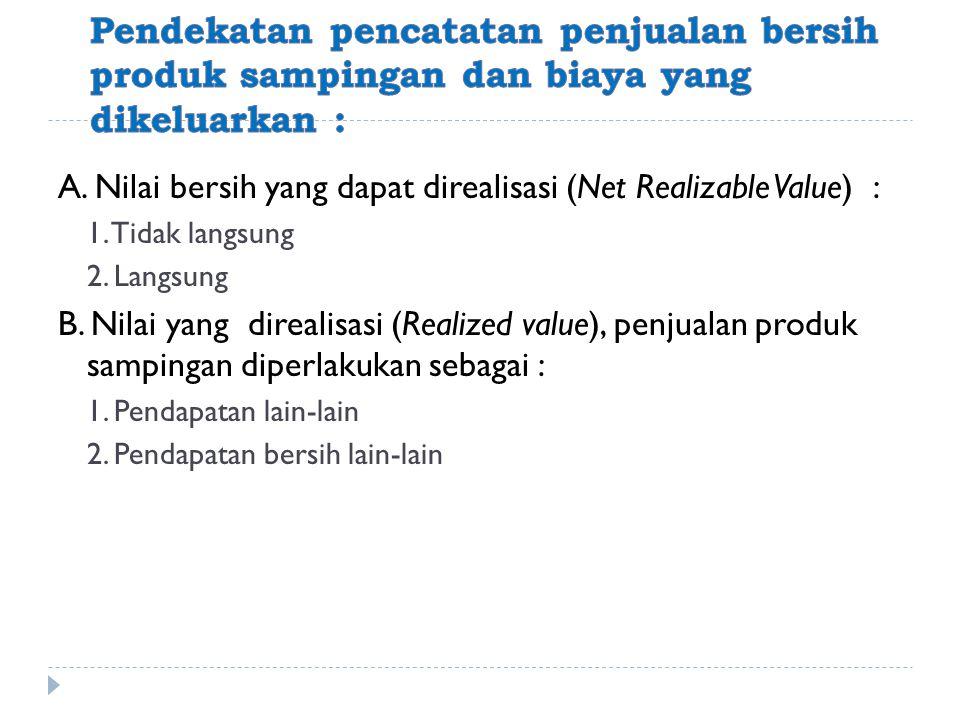 A. Nilai bersih yang dapat direalisasi (Net Realizable Value) : 1. Tidak langsung 2. Langsung B. Nilai yang direalisasi (Realized value), penjualan pr