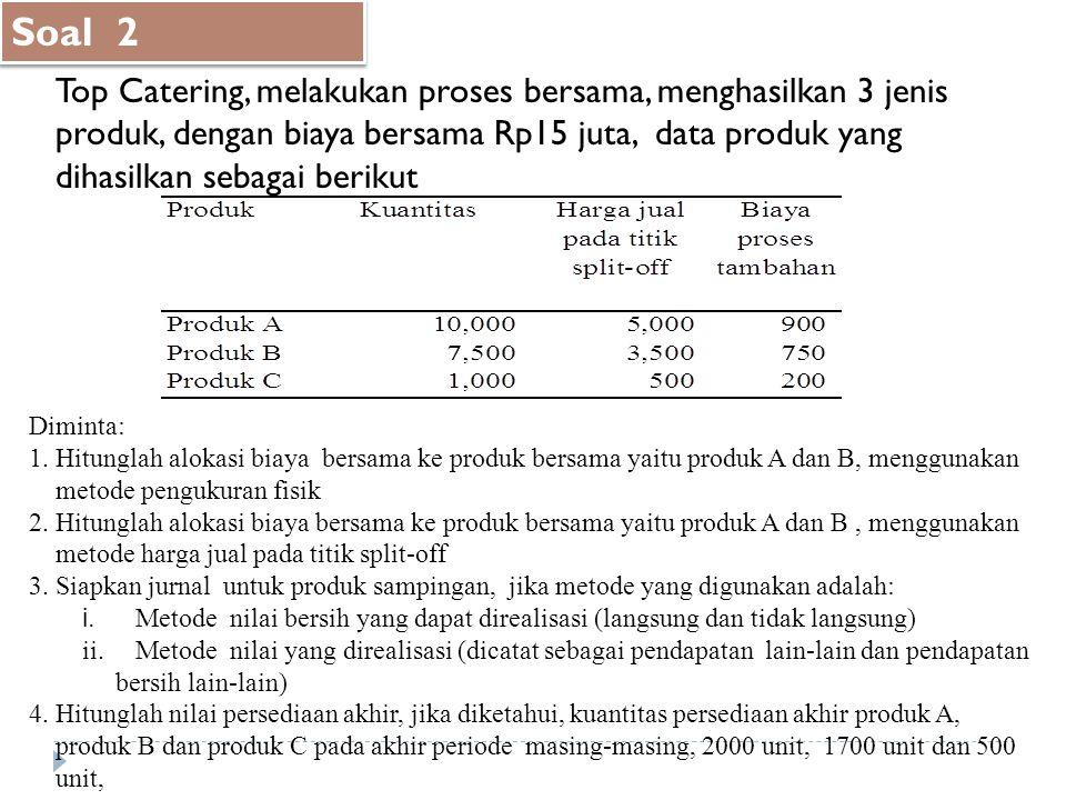 Soal 2 Top Catering, melakukan proses bersama, menghasilkan 3 jenis produk, dengan biaya bersama Rp15 juta, data produk yang dihasilkan sebagai beriku