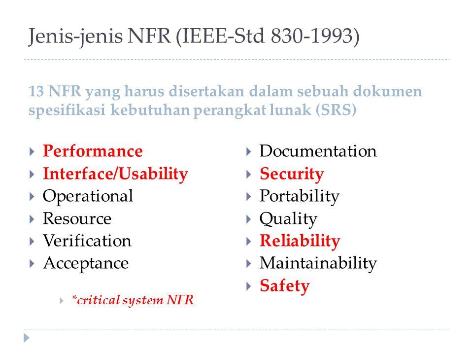 Jenis-jenis NFR (IEEE-Std 830-1993) 13 NFR yang harus disertakan dalam sebuah dokumen spesifikasi kebutuhan perangkat lunak (SRS)  Performance  Inte