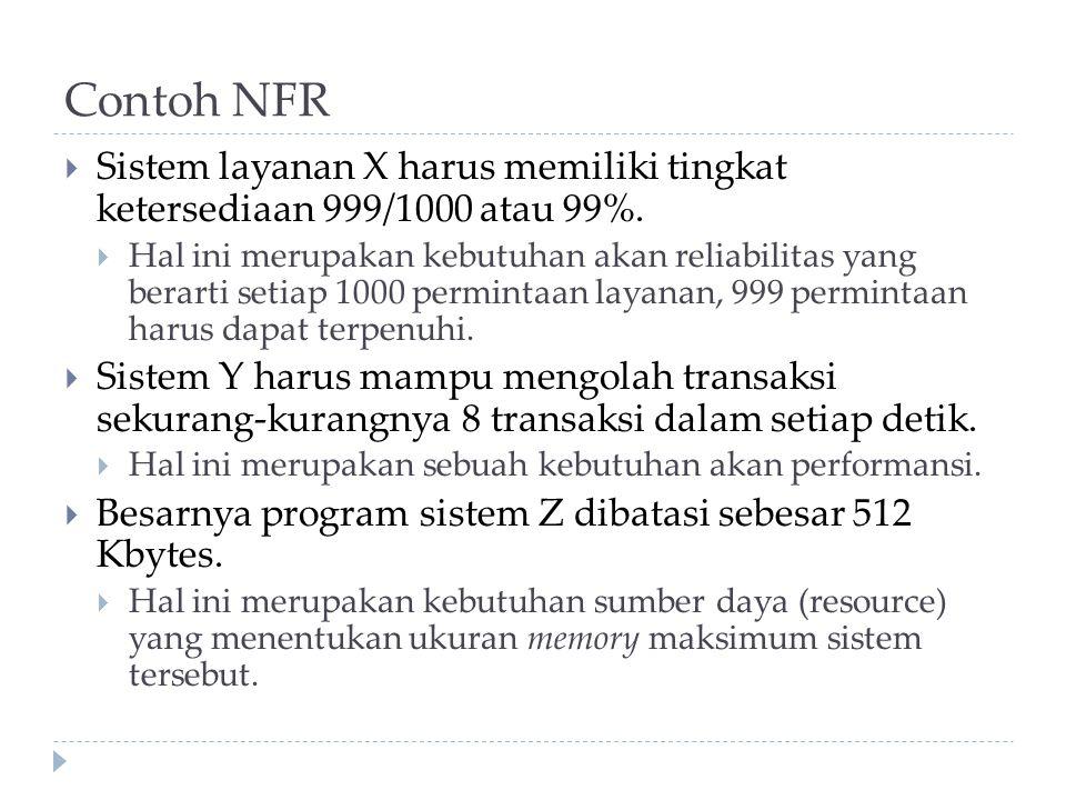 Contoh NFR  Sistem layanan X harus memiliki tingkat ketersediaan 999/1000 atau 99%.  Hal ini merupakan kebutuhan akan reliabilitas yang berarti seti