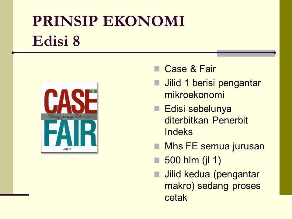 PRINSIP EKONOMI Edisi 8 Case & Fair Jilid 1 berisi pengantar mikroekonomi Edisi sebelunya diterbitkan Penerbit Indeks Mhs FE semua jurusan 500 hlm (jl