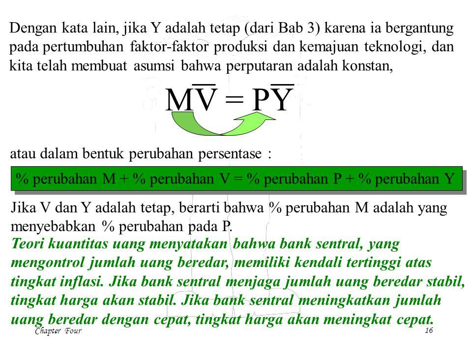 Chapter Four16 Dengan kata lain, jika Y adalah tetap (dari Bab 3) karena ia bergantung pada pertumbuhan faktor-faktor produksi dan kemajuan teknologi, dan kita telah membuat asumsi bahwa perputaran adalah konstan, atau dalam bentuk perubahan persentase : MV = PY % perubahan M + % perubahan V = % perubahan P + % perubahan Y Jika V dan Y adalah tetap, berarti bahwa % perubahan M adalah yang menyebabkan % perubahan pada P.