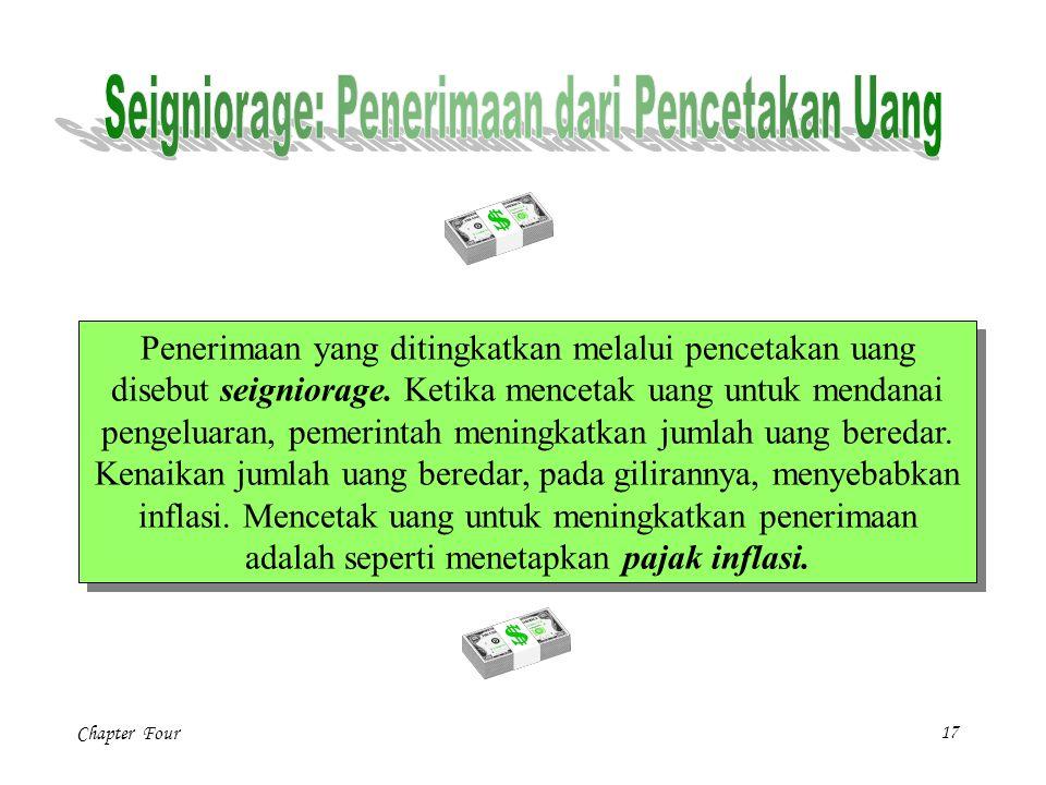 Chapter Four17 Penerimaan yang ditingkatkan melalui pencetakan uang disebut seigniorage.