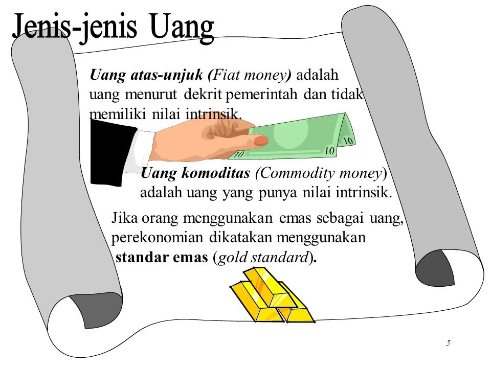Chapter Four5 Uang atas-unjuk (Fiat money) adalah uang menurut dekrit pemerintah dan tidak memiliki nilai intrinsik.