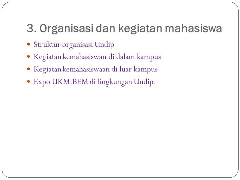 3. Organisasi dan kegiatan mahasiswa Struktur organisasi Undip Kegiatan kemahasiswan di dalam kampus Kegiatan kemahasiswaan di luar kampus Expo UKM.BE