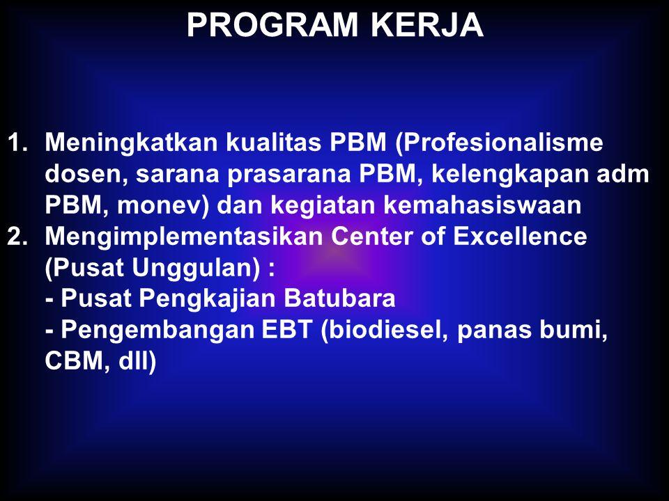 PROGRAM KERJA 1.Meningkatkan kualitas PBM (Profesionalisme dosen, sarana prasarana PBM, kelengkapan adm PBM, monev) dan kegiatan kemahasiswaan 2.Mengimplementasikan Center of Excellence (Pusat Unggulan) : - Pusat Pengkajian Batubara - Pengembangan EBT (biodiesel, panas bumi, CBM, dll)