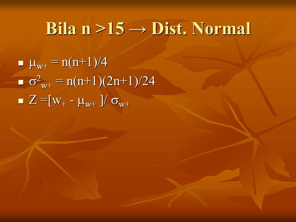 Bila n >15 → Dist.