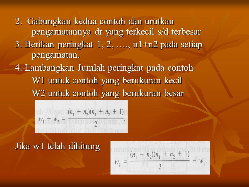2.Gabungkan kedua contoh dan urutkan pengamatannya dr yang terkecil s/d terbesar 3.