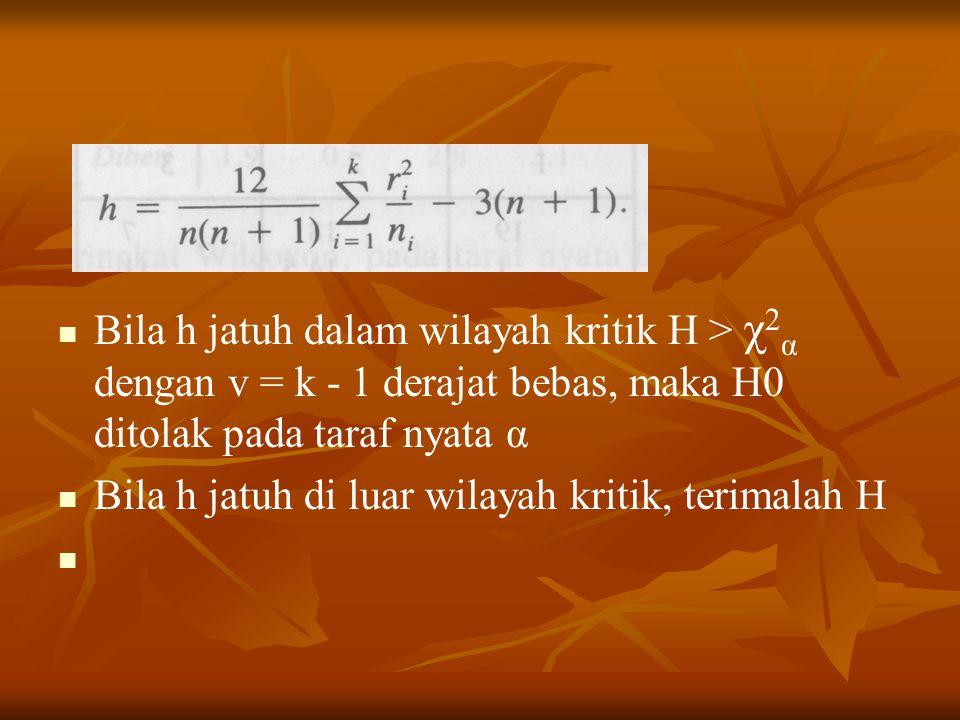 Bila h jatuh dalam wilayah kritik H > χ 2 α dengan v = k - 1 derajat bebas, maka H0 ditolak pada taraf nyata α Bila h jatuh di luar wilayah kritik, terimalah H