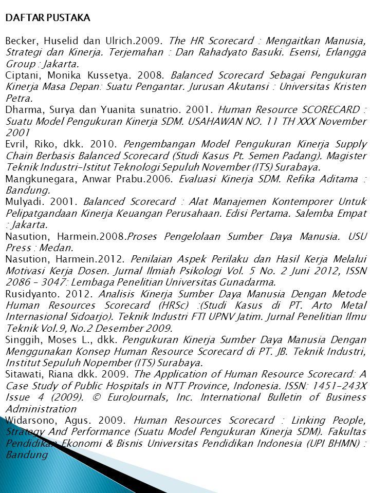 DAFTAR PUSTAKA Becker, Huselid dan Ulrich.2009. The HR Scorecard : Mengaitkan Manusia, Strategi dan Kinerja. Terjemahan : Dan Rahadyato Basuki. Esensi